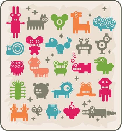 rare: Zoo of robots coming from the other planets. Rare animals. Vector illustration.