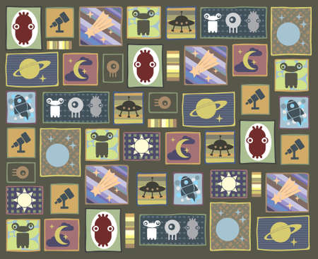 apollo: Pattern with the space characters. Illustration