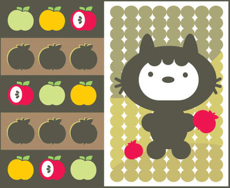 Kawaii cat with apples pattern. Vector illustration. Vector