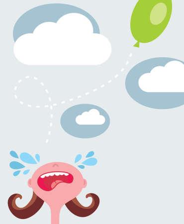 insulto: Llorando ni�a, volando globo. Ilustraci�n del vector.