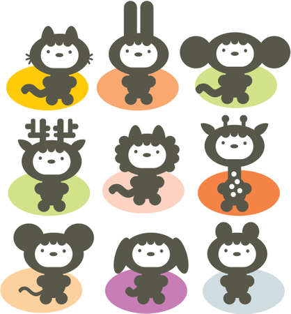 Cute animals set. Vector illustration. Vector