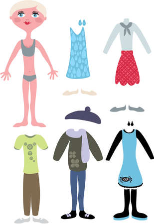 Paper doll with clothes - blond girl. Vector illustration. Vector