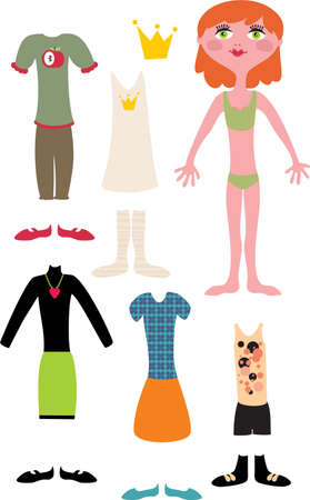 Paper doll with clothes - red hair girl. Vector illustration. Vector