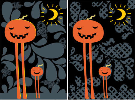 gourd: Halloween pumpkins, moon and pattern post cards.