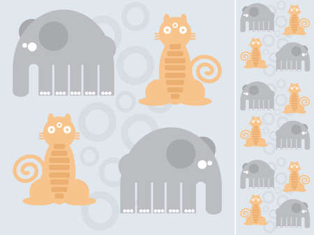 drawing on the fabric: Animal mutants: an elephant and a tiger (pattern). Vector illustration. Illustration