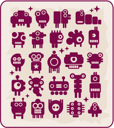 Robots, monsters, aliens collection #5. Vector illustration. Vector