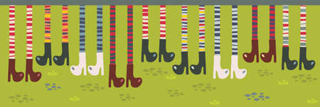 legs stockings: Feet in striped socks and boots. Vector pattern.