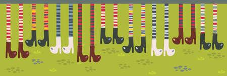 legs stockings: Piedi in calze a righe e stivali. Vector pattern. Vettoriali