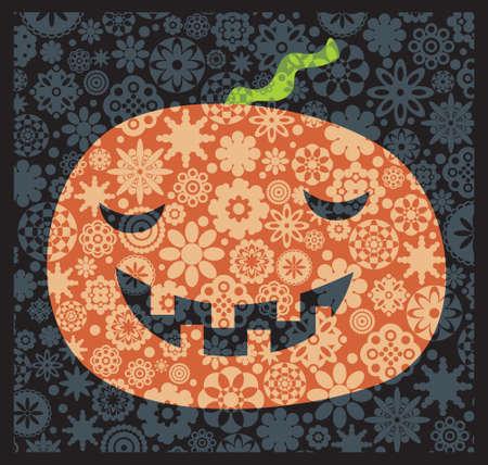 Shy Halloween pumpkin with the flower decor. Vector illustration. Vector
