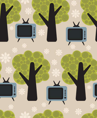 retro tv: Flora and TV vector pattern.