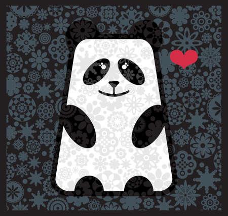 oso panda: Panda en el amor con flores. Ilustración del vector. Vectores