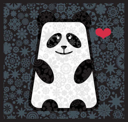 Panda in love with flowers. Vector illustration.