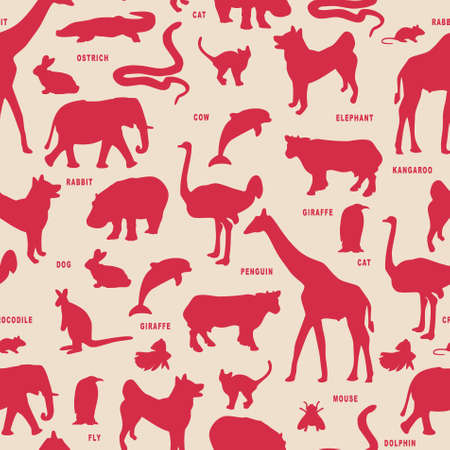 Animals silhouette vector pattern.