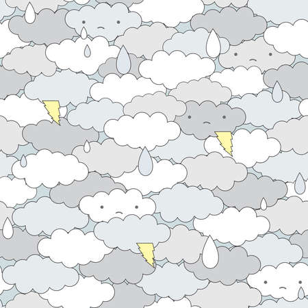children of heaven: Seamless clouds and rain pattern. Vector illustration. Illustration