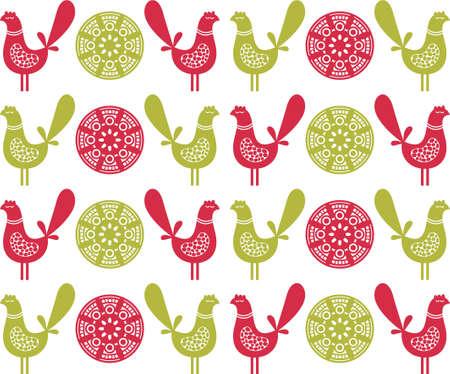 Folk birds seamless pattern in vector. Stock Vector - 11747463