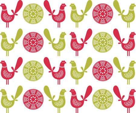 Folk birds seamless pattern in vector. Stock Vector - 11747463