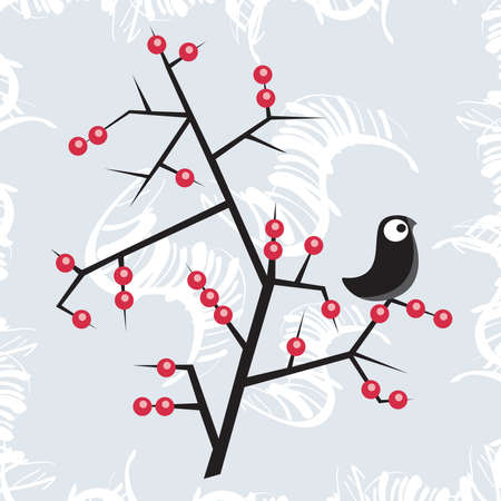 Winter bird on the tree. Vector