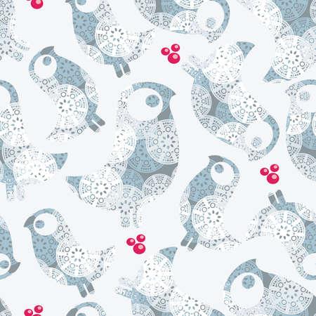 Szwu zimy ptaki płatki śniegu i jagody. Ilustracji wektorowych.