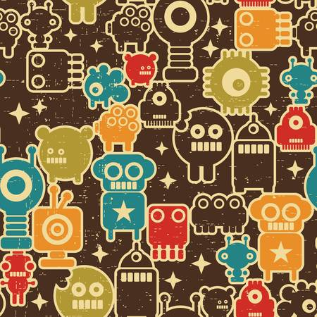 Robot and monsters modern seamless pattern in retro style #1.