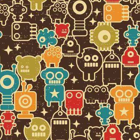 robot: Robot i potwory nowoczesny szwu w stylu retro # 1. Ilustracja