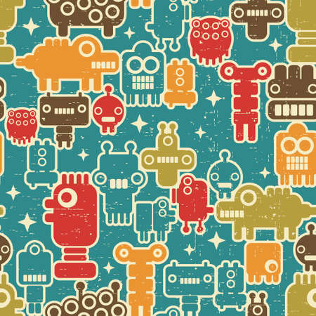 Robot and monsters modern seamless pattern in retro style #2. Vector