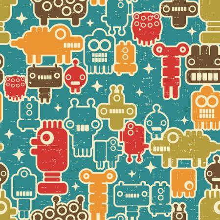 pattern monster: Robot e mostri modello moderno senza soluzione di continuit� in stile retr� # 2.