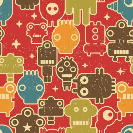 Robot and monsters modern seamless pattern in retro style #3. Vector