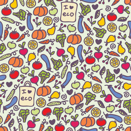 food package: Seamless healthy food pattern. Vector doodle illustration.