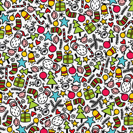 Seamless doodle Christmas pattern. Vector illustration. Vector