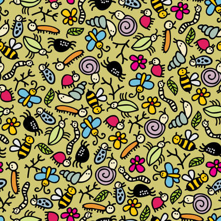 Insects world seamless pattern. Vector doodle illustration.