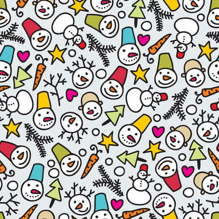 Seamless snowman pattern. Vector doodle illustration. Vector