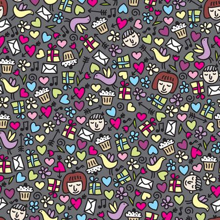 Romantic seamless pattern. Vector doodle illustration. Stock Vector - 11747521