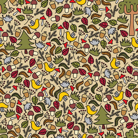 Seamless pattern with autumn forest. Vector doodle illustration. Vector