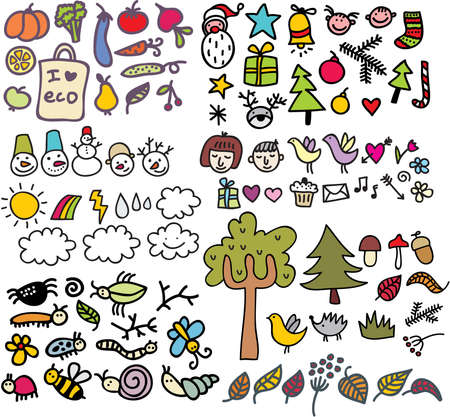 winter cherry: Mix of doodle images in vector. vol. 1