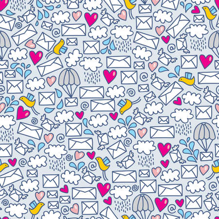 Seamless pattern with envelopes. Vector doodle illustration. Vector