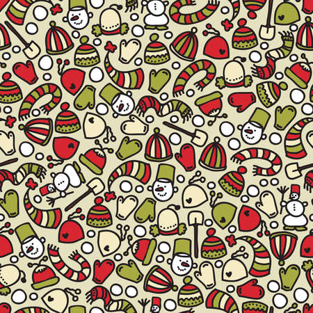 Seamless winter clothes and Christmas pattern. Vector doodle illustration. Vector