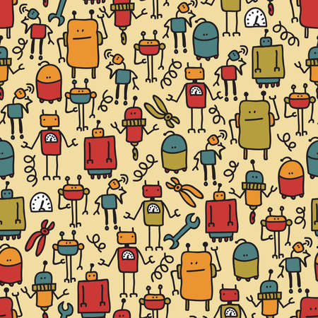 Robot seamless pattern. Vector doodle illustration.
