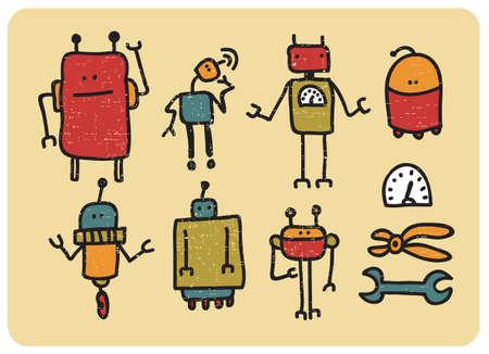 space antenna: Retro robots. Vector illustration.