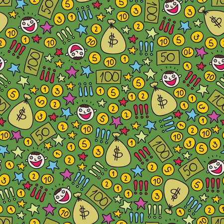 Money seamless pattern. Vector doodle illustration. Vector