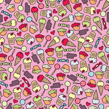 colourful candy: Cake and candy seamless pattern. Vector doodle illustration. Illustration
