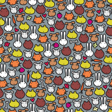 Cute animals seamless pattern. Vector doodle illustration. Vector