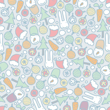Seamless Christmas pattern with rabbits. Vector doodle illustration. Vector