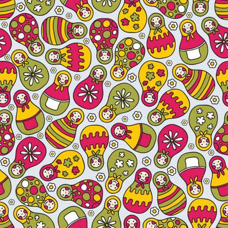 Matreshka doll seamless pattern. Vector doodle illustration. Vector