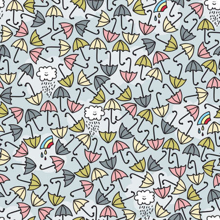Umbrella seamless pattern. Vector doodle illustration. Stock Vector - 11747460