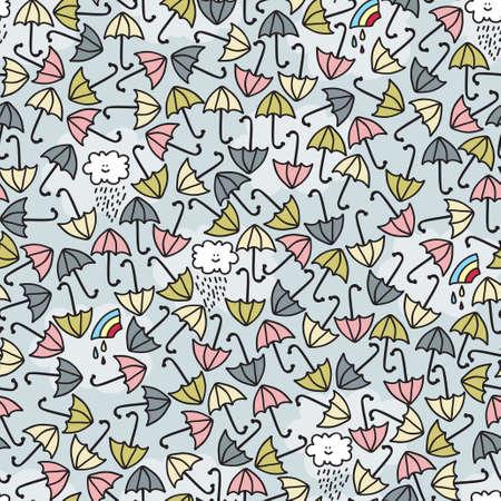 rainstorm: Umbrella seamless pattern. Vector doodle illustration.