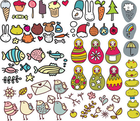 Mix of doodle images in vector. vol. 3 Vector