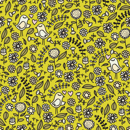 Seamless pattern with romantic birds, hearts and floral elements. Vector