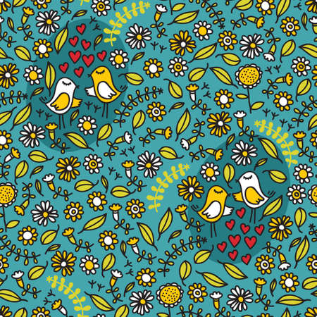 Seamless pattern with romantic birds, hearts and floral elements on blue..