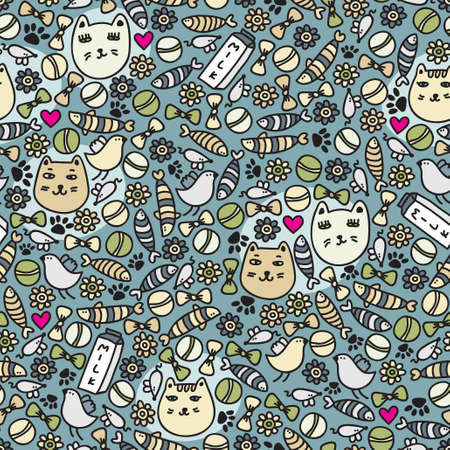 cat toy: Cats seamless pattern. Vector doodle illustration Illustration
