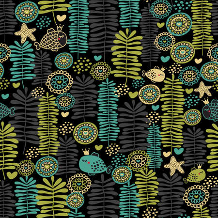 Seamless floral pattern with fish in crown. Vector